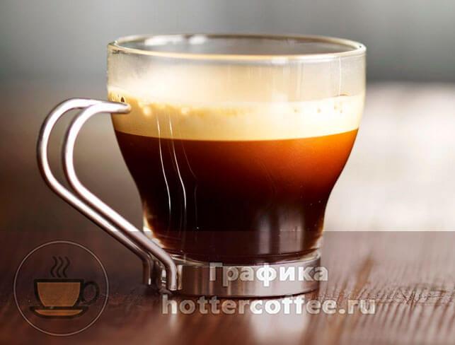 Кофе ристретто принято подавать в маленьких, прозрачных чашках